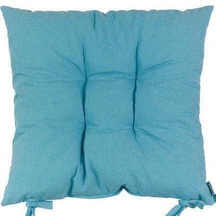 """Однотонная подушка на стул """"Волна"""", 41х41 см, хлопок, голубая"""