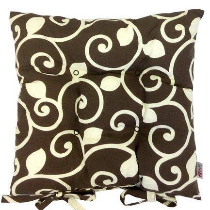 Подушка на стул с рисунком Фонда, 41х41 см, хлопок, шоколад P705-1812/1 Apolena