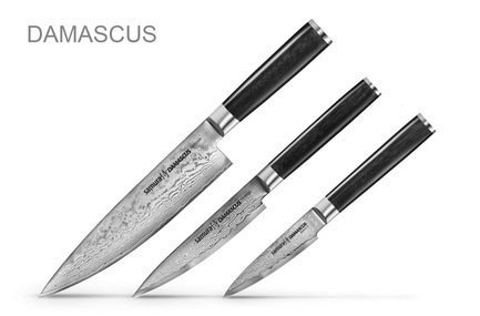 Samura Набор ножей Damascus, 3 пр. набор из 4 ножей и подставки samura bamboo в подарочной коробке