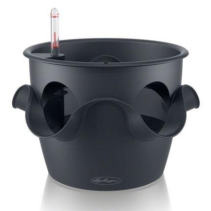 кашпо lechuza classico с системой автополива цвет черный диаметр 50 см Lechuza Кашпо Каскадино Колор, серое, с системой полива с системой автополива