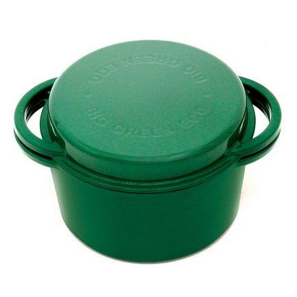 Big Green Egg Жаровня чугунная для гриля (4 л), с крышкой, зеленая 117045 Big Green Egg