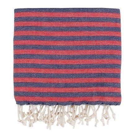 Полотенце пляжное Herringbone Pestemal, 100х180 см, сине-красное