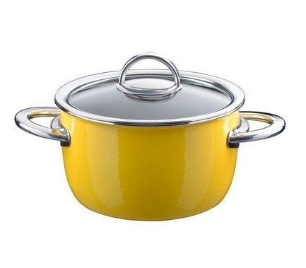 Кастрюля эмалированная, объем 1,9 л, диам. 18 см, выс. 10,7 см, цвет желтый, со стеклянной крышкой 33608618 Kochstar