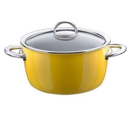 Кастрюля эмалированная, объем 4,8 л, диам. 22 см, выс. 13,6 см, цвет желтый, со стеклянной крышкой 33608622 Kochstar