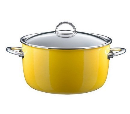 Кастрюля эмалированная, объем 6,1 л, диам. 26 см, выс. 14,5 см, цвет желтый, со стеклянной крышкой 33608626 Kochstar