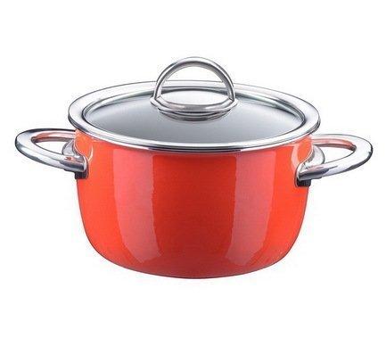цена на Кастрюля эмалированная, объем 1,9 л, диам. 18 см, выс. 10,7 см, цвет оранжевый, со стеклянной крышкой 33608718 Kochstar