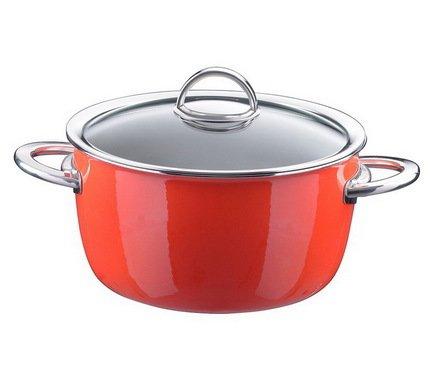 Кастрюля эмалированная, объем 4,8 л, диам. 22 см, выс. 13,6 см, цвет оранжевый, со стеклянной крышкой 33608722 Kochstar