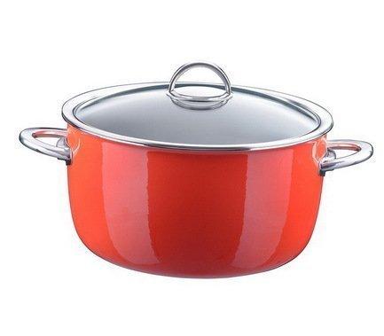 цена на Кастрюля эмалированная, объем 6,1 л, диам. 26 см, выс. 14,5 см, цвет оранжевый, со стеклянной крышкой 33608726 Kochstar