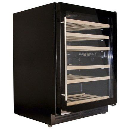 Винный шкаф (150 л), на 51 бутылку, мультитемпературный, черный