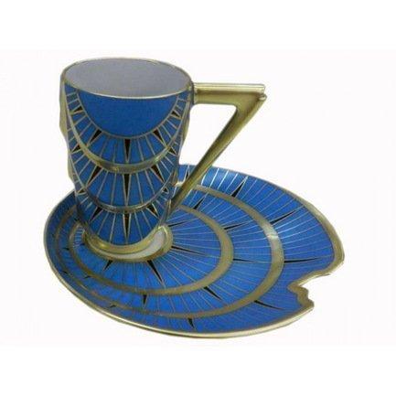 Чашка Manhatten (0.10 л) с блюдцем, синяя с позолотой 64120413-2414k Rudolf Kampf чашка с блюдцем страйп розовые 0 2 л