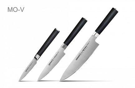 Samura Набор ножей Mo-V, 3 пр., в подарочной коробке набор из 4 ножей и подставки samura bamboo в подарочной коробке