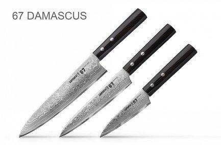 Samura Набор ножей 67 Damascus, 3 пр. набор из 4 ножей и подставки samura bamboo в подарочной коробке