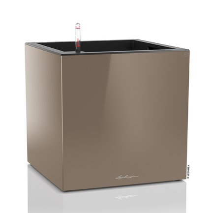 Lechuza Кашпо Канто, куб, 40 см, серо-коричневое, с системой полива 13754 Lechuza