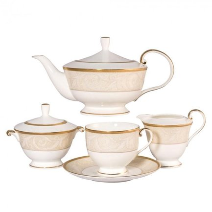 Сервиз чайный Ноктюрн золотой на 6 персон, 17 пр. 51035-52302 Narumi чайный сервиз на 6 персон бриз голд 17 пр n96732 52564 narumi