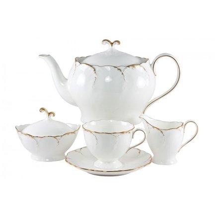Narumi Сервиз чайный Белый с золотом на 6 персон, 17 пр.