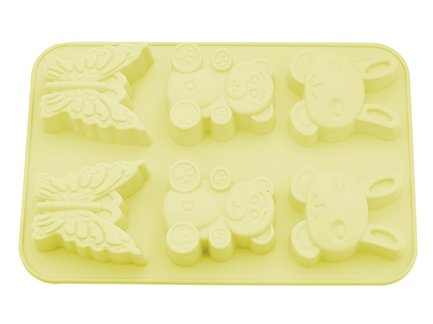 Fissman Форма для выпечки 6 кексов Зайчик, Мишка, Бабочка, 26x18.3x2.8 см