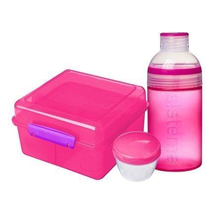 ланч бокс el casa синяя с розовым горошком 790198 3 синий розовый Ланч-бокс с бутылкой, розовый 41580 Sistema