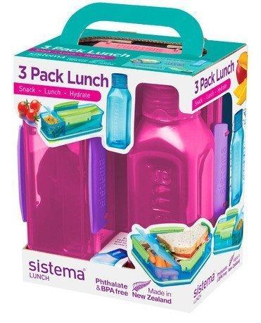 ланч бокс el casa синяя с розовым горошком 790198 3 синий розовый Ланч-бокс с бутылкой, розовый 1595 Sistema