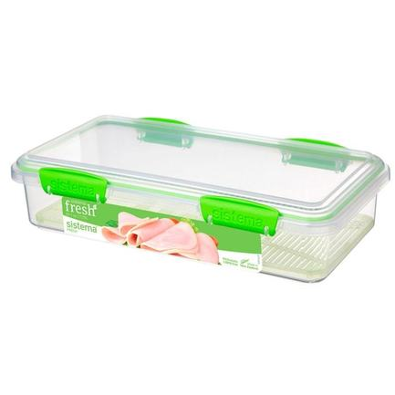 Контейнер для закусок Fresh (1.75 л), 29х15.2х7 см, зеленый 951481 Sistema контейнер fresh двойной 2 л 23 5х17х9 см зеленый 951720 sistema