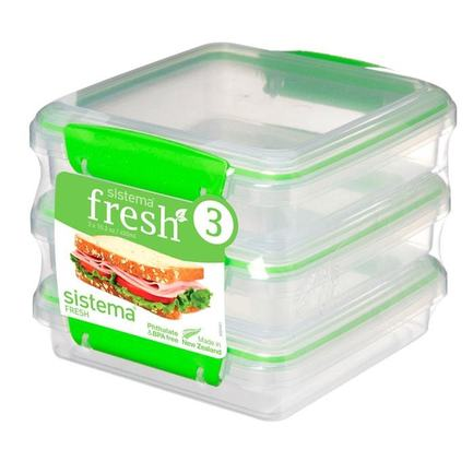 Набор контейнеров для сэндвичей Fresh (450 мл), 15.5х15х12.4 см, 3 шт, зеленый 951643 Sistema