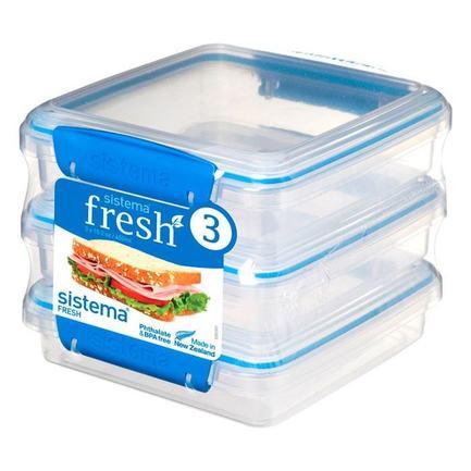 Набор контейнеров для сэндвичей Fresh (450 мл), 15.5х15х12.4 см, 3 шт, голубой 921643 Sistema