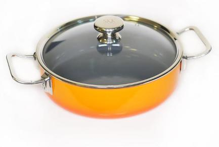 SKK Сотейник Enameled Steel (3.4 л), 24 см, со стеклянной крышкой 12124O/11241 SKK сундучок знаний настольная игра сундучок знаний космос brainbox