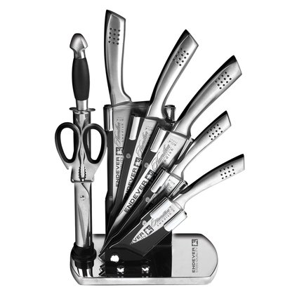 Endever Набор кухонных ножей в подставке, 8 пр. Hamilton-016 Endever endever набор кухонных ножей на магнитной подставке 6 пр hamilton 014 endever