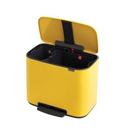 Brabantia Мусорный бак Bo с педалью (11 л + 23 л), Желтая маргаритка 121180