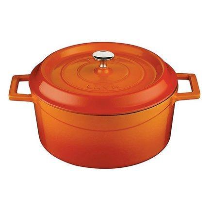 Литая чугунная кастрюля с крышкой (4.5 л), 24 см, оранжевая LVYTC24K2O LAVA
