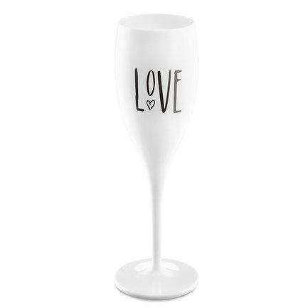 Бокал для шампанского (100 мл), с надписью Love, белый
