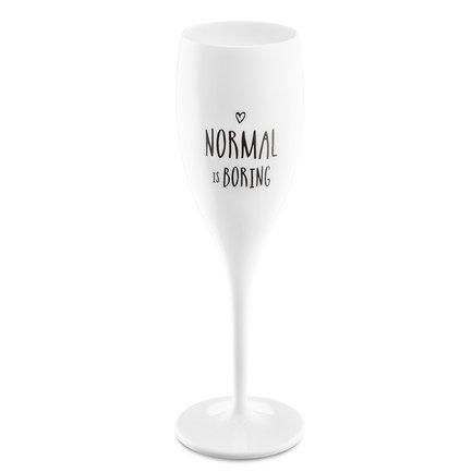 Бокал для шампанского (100 мл), с надписью Normal is boring, белый 3781525 Koziol