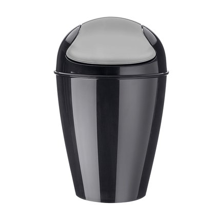 Корзина для мусора с крышкой Del S (5 л), черная 5777526 Koziol цена 2017