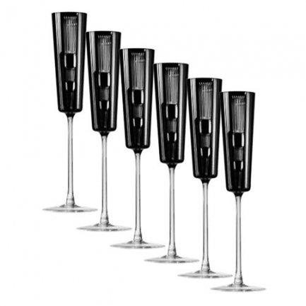 цена на Набор фужеров для шампанского Retro Black (110 мл), черных, 6 шт 65657/50464/47029 Ajka Crystal