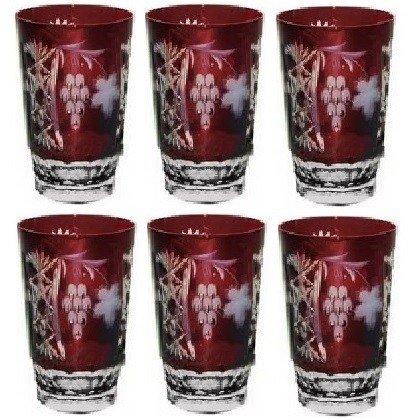 цена на Набор стаканов высоких Grape (390 мл), темно-бордовых, 6 шт darkruby/64579/51380/48359 Ajka Crystal