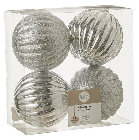 Набор декоративных шаров, 10 см, серебро, 4 шт.
