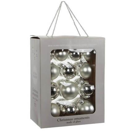 Набор шаров, 7 см, серебро, 26 шт, в коробке