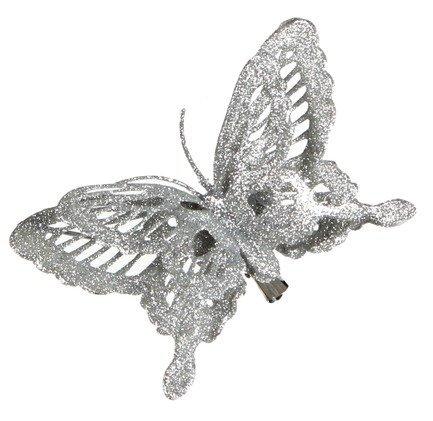 Бабочка декоративная, 14х2.5х9 см, серебро, клипса