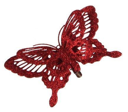 Бабочка декоративная, 14х2.5х9 см, красная, клипса 83388 Triumph Nord магнолия декоративная 20 см серебро блеск клипса 83434 triumph nord