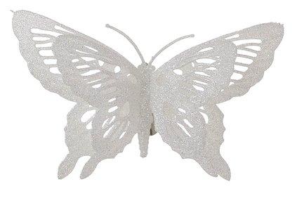 Бабочка декоративная, 16х10 см, белая, клипса, 36шт. 83389 Triumph Nord магнолия декоративная 20 см серебро блеск клипса 83434 triumph nord