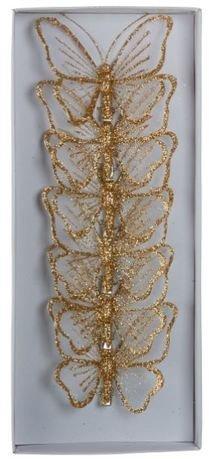 Набор декоративный Бабочка, 9 см, 6 шт, шампань