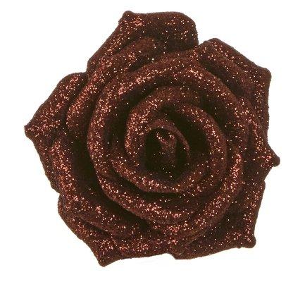 Роза декоративная, 9 см, коричневая, клипса, 36шт. 83422 Triumph Nord магнолия декоративная 20 см серебро блеск клипса 83434 triumph nord