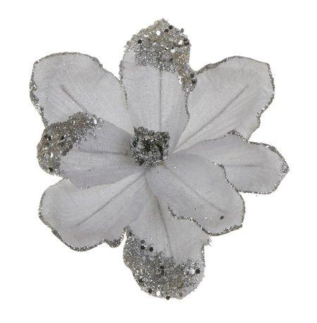 Магнолия декоративная, 20 см, серебро, блеск, клипса