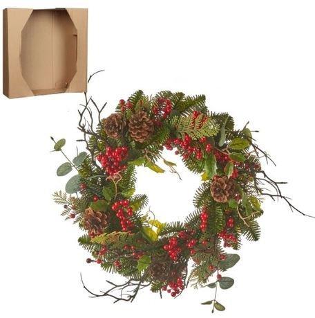 Венок украшенный, с ягодами, декоративный, 40х10 см, зеленый