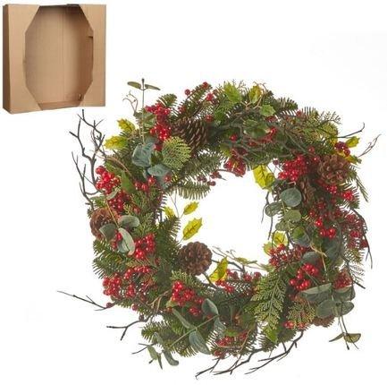 Венок украшенный, с ягодами, декоративный, 50х10 см, зеленый