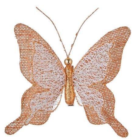 Бабочка декоративная, 12 см, коричневая, клипса, 10шт 83583 Triumph Nord магнолия декоративная 20 см серебро блеск клипса 83434 triumph nord