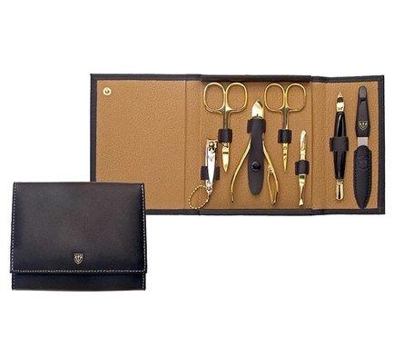Маникюрный набор Solingen Kellermann L 58901 FN, 7 пр. с кутикульными кусачками, Футляр кожаный, чёрный