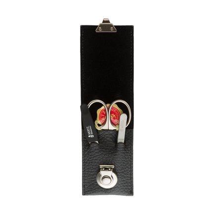 Маникюрный набор, 3 пр., футляр кожаный, чёрный