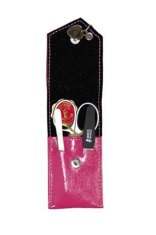 Маникюрный набор Mertz A3111RF, 3 пр., футляр кожаный, розовый
