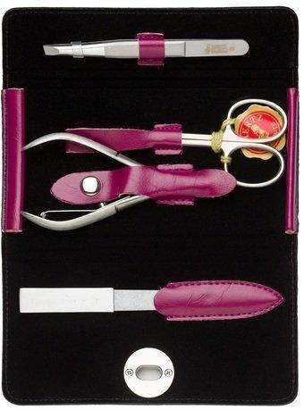 Маникюрный набор, 4 пр., футляр кожаный, розовый