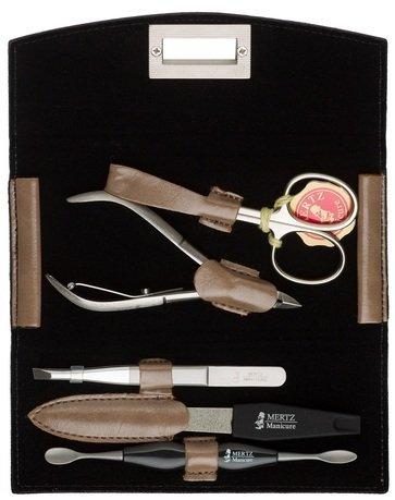 Маникюрный набор Mertz A5441RF, 5 пр., футляр кожаный, чёрный